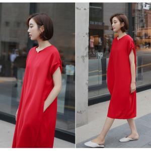 ロングワンピース レディース 40代 50代 60代 ファッション 女性 上品  黒  赤 半袖 無地 膝丈 きれいめ 大人 春 夏 ミセス|alice-style|08