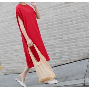 ロングワンピース レディース 40代 50代 60代 ファッション 女性 上品  黒  赤 半袖 無地 膝丈 きれいめ 大人 春 夏 ミセス|alice-style|09