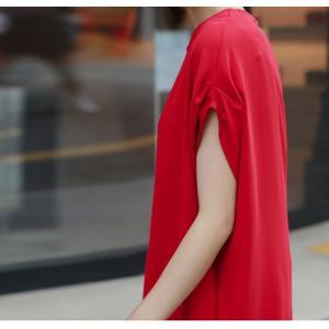 ロングワンピース レディース 40代 50代 60代 ファッション 女性 上品  黒  赤 半袖 無地 膝丈 きれいめ 大人 春 夏 ミセス|alice-style|10