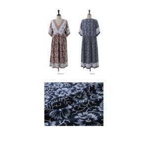 ワンピース レディース 40代 50代 60代 ファッション 女性 上品  茶色  紺 青 半袖 柄 ロング丈 きれいめ 春夏 ミセス|alice-style|02