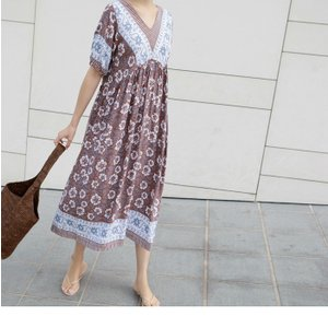ワンピース レディース 40代 50代 60代 ファッション 女性 上品  茶色  紺 青 半袖 柄 ロング丈 きれいめ 春夏 ミセス|alice-style|11