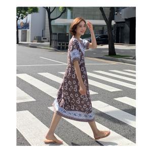 ワンピース レディース 40代 50代 60代 ファッション 女性 上品  茶色  紺 青 半袖 柄 ロング丈 きれいめ 春夏 ミセス|alice-style|12