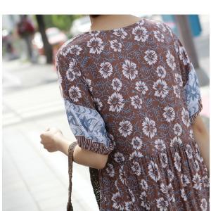 ワンピース レディース 40代 50代 60代 ファッション 女性 上品  茶色  紺 青 半袖 柄 ロング丈 きれいめ 春夏 ミセス|alice-style|13