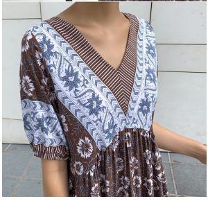 ワンピース レディース 40代 50代 60代 ファッション 女性 上品  茶色  紺 青 半袖 柄 ロング丈 きれいめ 春夏 ミセス|alice-style|14