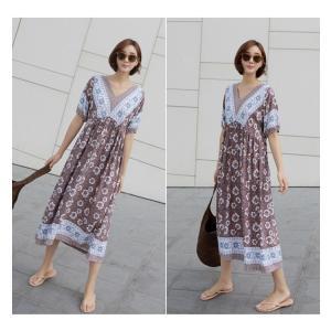 ワンピース レディース 40代 50代 60代 ファッション 女性 上品  茶色  紺 青 半袖 柄 ロング丈 きれいめ 春夏 ミセス|alice-style|18
