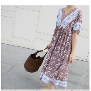 ワンピース レディース 40代 50代 60代 ファッション 女性 上品  茶色  紺 青 半袖 柄 ロング丈 きれいめ 春夏 ミセス|alice-style|19