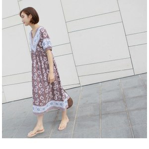 ワンピース レディース 40代 50代 60代 ファッション 女性 上品  茶色  紺 青 半袖 柄 ロング丈 きれいめ 春夏 ミセス|alice-style|20