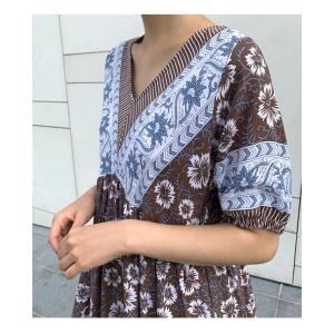 ワンピース レディース 40代 50代 60代 ファッション 女性 上品  茶色  紺 青 半袖 柄 ロング丈 きれいめ 春夏 ミセス|alice-style|03