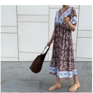 ワンピース レディース 40代 50代 60代 ファッション 女性 上品  茶色  紺 青 半袖 柄 ロング丈 きれいめ 春夏 ミセス|alice-style|04