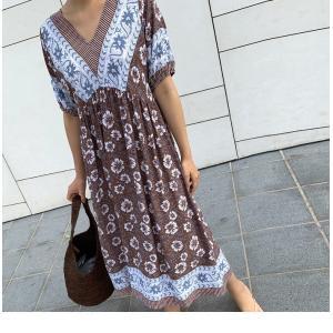 ワンピース レディース 40代 50代 60代 ファッション 女性 上品  茶色  紺 青 半袖 柄 ロング丈 きれいめ 春夏 ミセス|alice-style|05