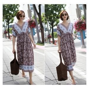ワンピース レディース 40代 50代 60代 ファッション 女性 上品  茶色  紺 青 半袖 柄 ロング丈 きれいめ 春夏 ミセス|alice-style|06