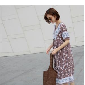 ワンピース レディース 40代 50代 60代 ファッション 女性 上品  茶色  紺 青 半袖 柄 ロング丈 きれいめ 春夏 ミセス|alice-style|07