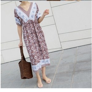 ワンピース レディース 40代 50代 60代 ファッション 女性 上品  茶色  紺 青 半袖 柄 ロング丈 きれいめ 春夏 ミセス|alice-style|08