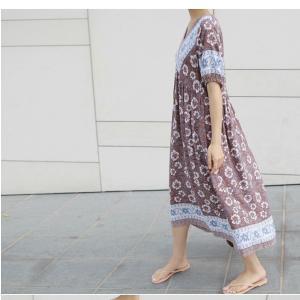 ワンピース レディース 40代 50代 60代 ファッション 女性 上品  茶色  紺 青 半袖 柄 ロング丈 きれいめ 春夏 ミセス|alice-style|10