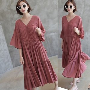 ワンピース レディース 40代 50代 60代 ファッション 女性 上品  赤 Vネック 無地 半袖 ロング丈 春夏 ミセス alice-style