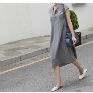 ワンピース レディース 40代 50代 60代 ファッション 女性 上品  グレー  紺 青 半袖 無地 ロング丈 きれいめ 春夏 ミセス alice-style 13