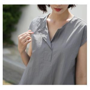 ワンピース レディース 40代 50代 60代 ファッション 女性 上品  グレー  紺 青 半袖 無地 ロング丈 きれいめ 春夏 ミセス alice-style 15