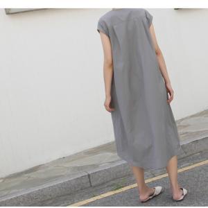 ワンピース レディース 40代 50代 60代 ファッション 女性 上品  グレー  紺 青 半袖 無地 ロング丈 きれいめ 春夏 ミセス alice-style 20