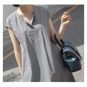ワンピース レディース 40代 50代 60代 ファッション 女性 上品  グレー  紺 青 半袖 無地 ロング丈 きれいめ 春夏 ミセス alice-style 06