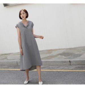ワンピース レディース 40代 50代 60代 ファッション 女性 上品  グレー  紺 青 半袖 無地 ロング丈 きれいめ 春夏 ミセス alice-style 10