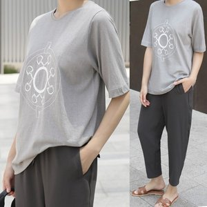 Tシャツ レディース 40代 50代 60代 ファッション 女性 上品  ベージュ  グレー トップス 半袖 プリント 春夏 ミセス|alice-style