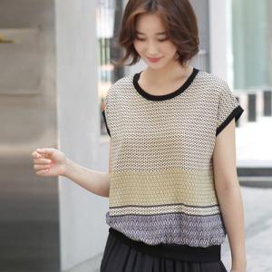 Tシャツ レディース 40代 50代 60代 ファッション 女性 上品  黒  紺 青 半袖 柄 トップス 春夏 ミセス|alice-style