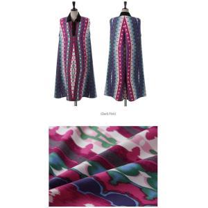 ワンピース レディース 40代 50代 60代 ファッション 女性 上品 リネン 膝丈 柄 ノースリーブ 春夏 ミセス|alice-style|02
