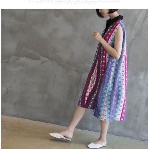 ワンピース レディース 40代 50代 60代 ファッション 女性 上品 リネン 膝丈 柄 ノースリーブ 春夏 ミセス|alice-style|15