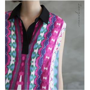 ワンピース レディース 40代 50代 60代 ファッション 女性 上品 リネン 膝丈 柄 ノースリーブ 春夏 ミセス|alice-style|16