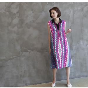 ワンピース レディース 40代 50代 60代 ファッション 女性 上品 リネン 膝丈 柄 ノースリーブ 春夏 ミセス|alice-style|17