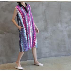 ワンピース レディース 40代 50代 60代 ファッション 女性 上品 リネン 膝丈 柄 ノースリーブ 春夏 ミセス|alice-style|18