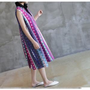 ワンピース レディース 40代 50代 60代 ファッション 女性 上品 リネン 膝丈 柄 ノースリーブ 春夏 ミセス|alice-style|07