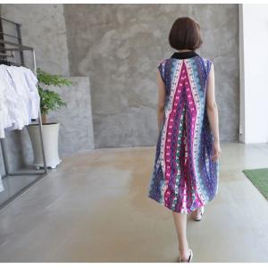 ワンピース レディース 40代 50代 60代 ファッション 女性 上品 リネン 膝丈 柄 ノースリーブ 春夏 ミセス|alice-style|08