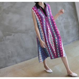 ワンピース レディース 40代 50代 60代 ファッション 女性 上品 リネン 膝丈 柄 ノースリーブ 春夏 ミセス|alice-style|10