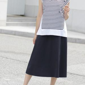 Aラインスカート レディース 40代 50代 60代 ファッション 女性 上品  紺 青 膝丈 無地 きれいめ 春夏 ミセス|alice-style