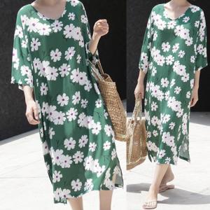 ワンピース レディース 40代 50代 60代 ファッション 女性 上品  イエロー  黄色  紺 青 半袖 花柄 ロング丈 7分袖 春夏 ミセス|alice-style