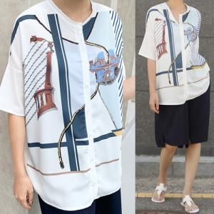 ブラウス レディース 40代 50代 60代 ファッション 女性 上品  紺 青 きれいめ レトロ柄 半袖 春夏 ミセス|alice-style