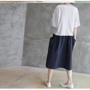 ワンピース レディース 40代 50代 60代 ファッション 女性 上品  紺 青 形状記憶 半袖 バイカラー ロング丈 ロングワンピース 春夏 ミセス|alice-style|15