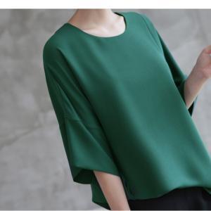 ブラウス レディース 40代 50代 60代 ファッション 女性 上品  黒  グレー トップス 無地 7分袖 きれいめ 春夏 ミセス|alice-style|14