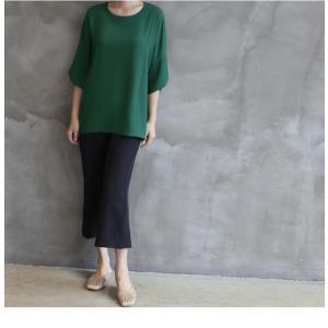ブラウス レディース 40代 50代 60代 ファッション 女性 上品  黒  グレー トップス 無地 7分袖 きれいめ 春夏 ミセス|alice-style|15