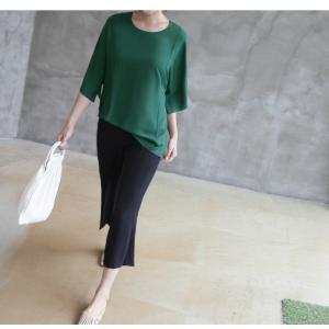 ブラウス レディース 40代 50代 60代 ファッション 女性 上品  黒  グレー トップス 無地 7分袖 きれいめ 春夏 ミセス|alice-style|17