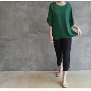 ブラウス レディース 40代 50代 60代 ファッション 女性 上品  黒  グレー トップス 無地 7分袖 きれいめ 春夏 ミセス|alice-style|20