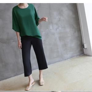 ブラウス レディース 40代 50代 60代 ファッション 女性 上品  黒  グレー トップス 無地 7分袖 きれいめ 春夏 ミセス|alice-style|06