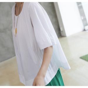 トップス レディース 40代 50代 60代 ファッション 女性 上品  黒 Tシャツ 半袖 無地 春夏 ミセス|alice-style|17