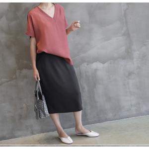 ブラウス レディース 前後バイカラー 40代 50代 60代 ファッション 女性 上品  赤 無地 半袖 Vネック きれいめ トップス 春夏 ミセス alice-style 10
