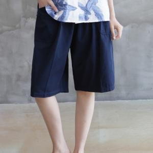 ハーフパンツ レディース 大人 40代 50代 60代 ファッション 女性 上品 黒 赤 紺 青 カーキ 緑 カーキ 緑 コットン 春夏 ミセス|alice-style