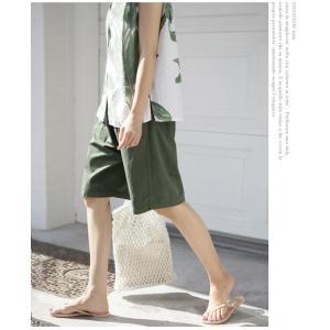 ハーフパンツ レディース 40代 50代 60代 ファッション 女性 上品  黒  赤  紺 青  カーキ 緑  カーキ 緑 コットン 春夏 ミセス|alice-style|11
