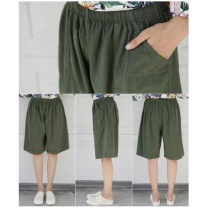 ハーフパンツ レディース 40代 50代 60代 ファッション 女性 上品  黒  赤  紺 青  カーキ 緑  カーキ 緑 コットン 春夏 ミセス|alice-style|12