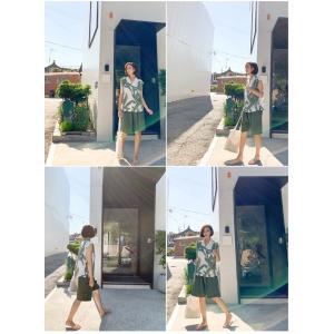 ハーフパンツ レディース 40代 50代 60代 ファッション 女性 上品  黒  赤  紺 青  カーキ 緑  カーキ 緑 コットン 春夏 ミセス|alice-style|17