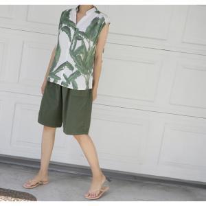 ハーフパンツ レディース 40代 50代 60代 ファッション 女性 上品  黒  赤  紺 青  カーキ 緑  カーキ 緑 コットン 春夏 ミセス|alice-style|07